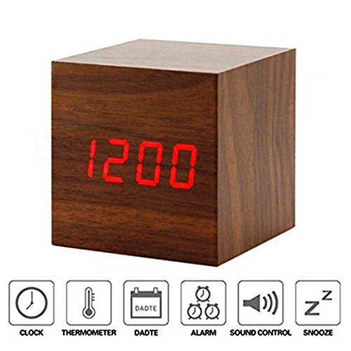 BonZeal Digital Square Cube Time Temperature Date Sound Control Ultra Modern Dark Wood Red LED Alarm Clock (Brown)  available at amazon for Rs.1100