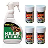 Insecto 4 x Mini Fogger Room Smoke Bombs & 1 x 500ml Flea