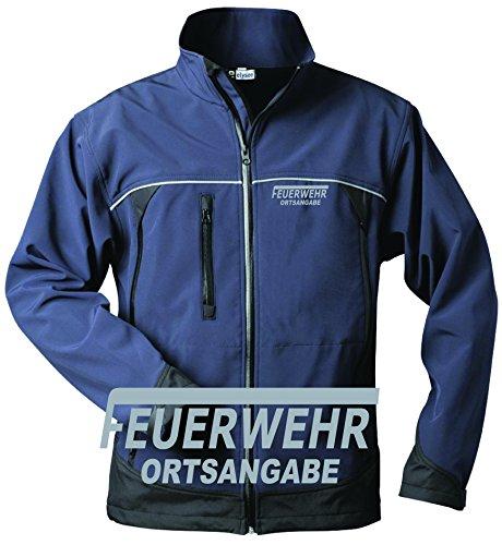 feuerwehr sweatshirt Feuerwehr Softshell Jack, Navy/Black mit Aufdruck reflexsilber oder Neongelb (M, reflexsilber)