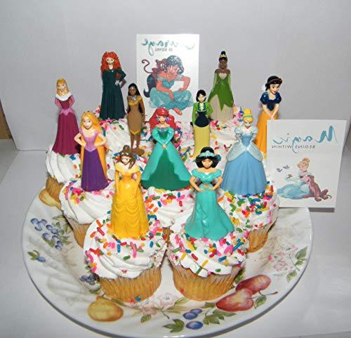 Princess Spiele Disney Princess Deluxe Kuchen Topper Cupcake-Deko-Set von 13mit 11Topper Figuren und 2Prinzessin Tattoos mit Belle Ariel Cinderella und mehr. (Cinderella Cupcake Kuchen)