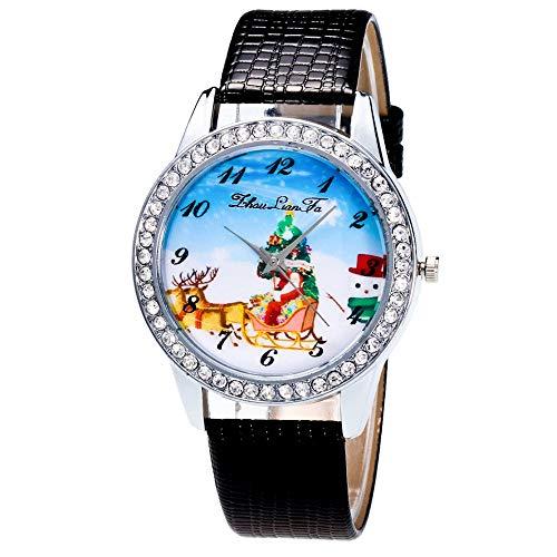 Damen-Armbanduhr mit Lederarmband, modisch, Schwarz