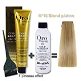 Lot coloration cheveux 100 ml Oro Therapy blond platine 10/ + oxydant 20 volumes 150 ml
