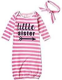 STKEN Baby Mädchen Kleine Schwester Einheitsgröße Langarm Nachthemd Schlafanzug Säugling mit Nach Hause Nehmen Kleider mit Stirnband
