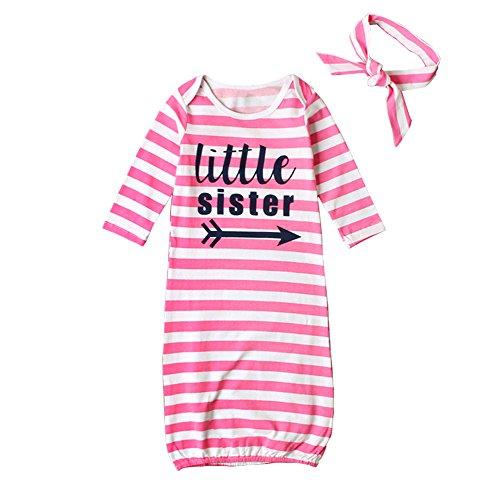 STKEN Baby Mädchen Kleine Schwester Einheitsgröße Langarm Nachthemd Schlafanzug Säugling mit Nach Hause Nehmen Kleider mit Stirnband -