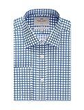 Hawes & Curtis Business Hemd – Slim Fit – Bügelfrei – Manschetten – Gitterkaro Blau Royal/Weiß 40/41cm Kragen, 91cm Ärmel (UK 16-36)