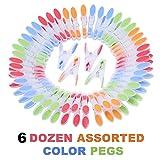 Kurelle KPEGS-72 Extra Starke Windfeste Große Wäscheklammern Ergonomischer weicher Rostbeständiger Griff verschiedene Farben Klammern für Innen und Außen Bereich Wäscheständer 72 Set