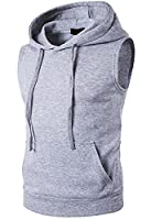 S-Fly Mens Casual Hoodies Sleeveless Pullover Hooded Waistcoat Top US XS Light Gray