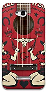 The Racoon Grip Western Guitar hard plastic printed back case / cover for HTC Desire 616