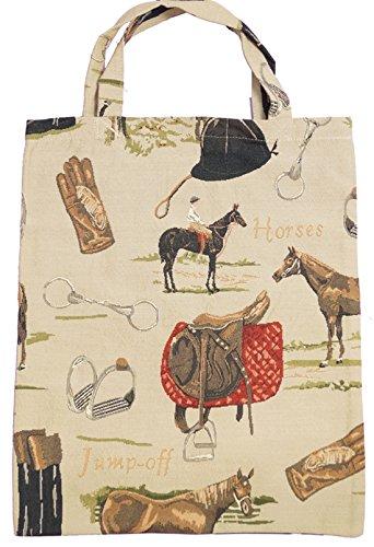 Bowatex Sac cabas sacs plastique Sac Shopper Bag Tapisserie royaltex Signare Motif cheval reitmotiv Petit 22 x 26 x 0,5 cm FA