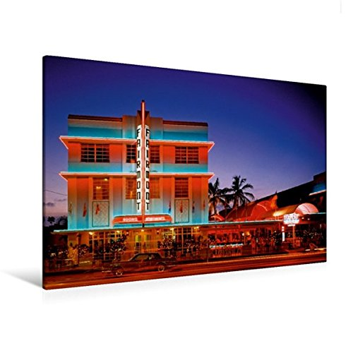 South Beach Miami Art Deco (Premium Textil-Leinwand 120 cm x 80 cm quer, Todschick – die historischen Gebäude im Art Deco District am South Beach | Wandbild, Bild auf Keilrahmen, ... Miami Beach, Florida, USA (CALVENDO Orte))