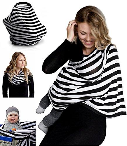 MESE London Baby-Still-Abdeckung Krankenpflege-Kinderwagen Schal 70x70 cm Schwarz und Weiß