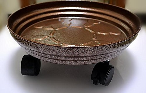 &QQ Bandeja móvil de la parte inferior de la olla de flor, estante de la flor, agua del almacén, rueda del freno, base bajo cuidado, , 38cm , copper