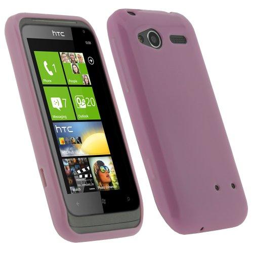 igadgitz Pink Rosa Glanz Dauerhafte Kristall Gel Skin TPU Tasche Schutz Hülle für HTC Radar C100e Windows Smartphone Mobile Phone Handy + Display Schutzfolie