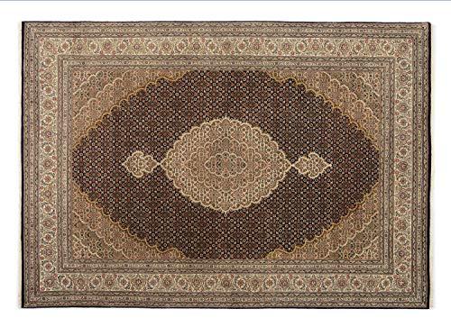 PARISA MAHI echter klassischer Orientteppich handgeknüpft in schwarz-creme, Größe: 200x250 cm -