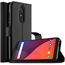 Wiko View Custodia, iBetter portafoglio cover PU Cover Custodia Protettiva Portafoglio da Mano per Wiko View Smartphone. (Nero)