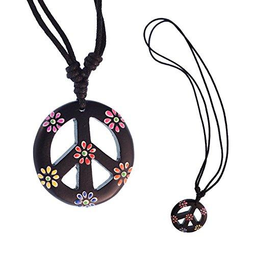 Chic-Net Madera Cadena Sono Paz Colgante flores negras colorido 33 mm hippie algodón ajustable