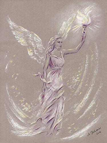 Artland Qualitätsbilder I Wandtattoo Wandsticker Wandaufkleber 60 x 80 cm Fantasy Mythologie Religion Christentum Illustration Lila D4ZN Engel der Hoffnung Engelkunst