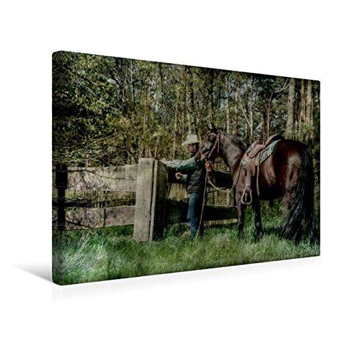 Premium Textil-Leinwand 45 cm x 30 cm quer, Weiden und Zäune kontrollieren | Wandbild, Bild auf Keilrahmen, Fertigbild auf echter Leinwand. Arbeit mit und fürs Pferd (CALVENDO Natur)
