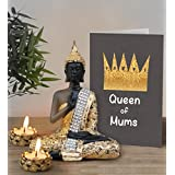 Gift For Mother In Law | Gift For Mothers Day | Mothers Day Gifts | Mothers Day Gifts From Daughter |Sitting Buddha Statue With Tea Light Candles And Greeting Card By TiedRibbons