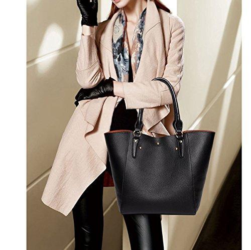 Donna Moda Stile Nuovo Retrò Grande Capacità Vestito Di Due Parti Borsa A Tracolla Singola Brown