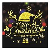 QTZJYLW Weihnachten Wand Sticker Weihnachten Hat Buchstaben Muster Frohe Weihnachten Dekoration Shop Fenster Glas Wand Aufkleber (40 × 60 cm)
