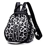 Dorical Leopard Umhängetasche Mode Leopard Muster Umhängetasche Reißverschluss Schultertasche Citytasche Reisen Schulranzen Retro Crossbody Leder Tasche Handtasche(Schwarz)