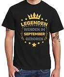 - Legenden Werden im September geboren - Boys T-Shirt Schwarz, Größe XXL
