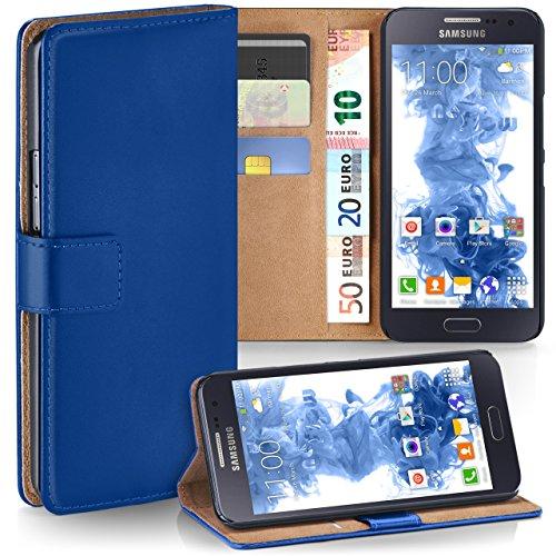 moex Samsung Galaxy A5 (2015)   Hülle Blau mit Karten-Fach 360° Book Klapp-Hülle Handytasche Kunst-Leder Handyhülle für Samsung Galaxy A5 2015 Case Flip Cover Schutzhülle Tasche