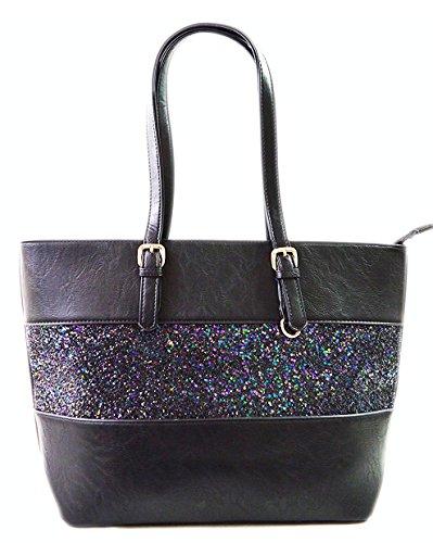 Gallantry-sac porté main femme-sac cours fille en paillette (Noir)