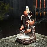 Portaincenso in ceramica per 10 bastoncini e umidificatore con flusso di ritorno, bruciatore a cono, per casa e ufficio, idea regalo, vaso rosso