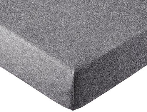 AmazonBasics - Spannbettlaken, melierter Jersey-Stoff 140g/m², Dunkelgrau - 90 x 200 x 30 cm