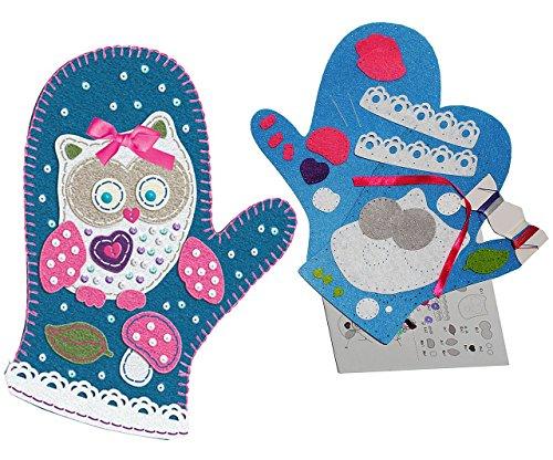 alles-meine.de GmbH Bastelset - Filz -  Topfhandschuh - lustige Eule  - zum Sticken, einfaches Nähen per Hand - Komplettset filzen Eulen - Creativ - Filzset zum Basteln / Topfl..