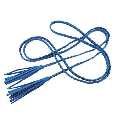 nanxsontm-damen-madchen-dekorative-gestrickte-lederbauchkette-seil-gurt-mit-troddel-pdw0042-blau
