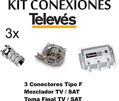 KIT MEZCLADOR DIPLEXOR SEPARADOR + TOMA SEPARADORA + 3 CONECTORES -F- TELEVES PARA ANTENA PARABOLICA