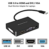 XinXu USB 3.0 à HDMI/DVI/VGA Carte graphique vidéo externe Adaptateur moniteur double - Moniteurs jusqu'à 2048x1152/1920x1080 prend en charge XP/Vista/Windows 7/Windows 8.1/Windows 10/Mac OS 10.6