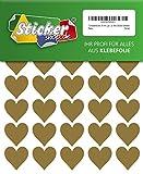 70 Klebeherzen, 30 mm, gold, aus PVC Folie, wetterfest, Herz Sticker Aufkleber