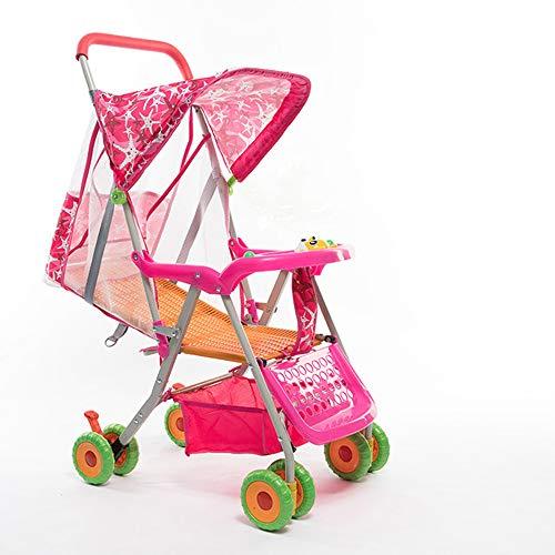 Unbekannt Kinderwagen Bambus Rattan kann sitzen Liegender Leichter zusammenklappbarer Kinderwagen Tragbarer Kinderwagen Kinderwagen,Pink