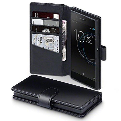 Terrapin, Kompatibel mit Sony Xperia XA1 Hülle, [ECHT LEDER] Brieftasche Case Tasche mit Standfunktion Kartenfächer und Bargeld - Schwarz EINWEG