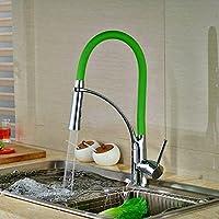Tougmoo colorati da cucina, rubinetto girevole rubinetto in ottone cromato lucido Deck caldo e freddo rubinetto Green