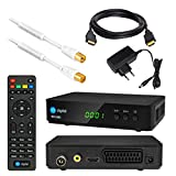Kabel Receiver DVB-C SET: HB DIGITAL HD 250C DVB-C Receiver für Kabelfernsehen + 7,5m HDTV Antennenkabel vergoldet mit Mantelstromfilter weiß + HDMI Kabel (Full HD Ready, HDTV, HDMI, SCART, USB 2.0, SPDIF Koaxial Ausgang, 230V/12V Camping Receiver)