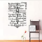 Koyiyo Blumenmuster Wandaufkleber Familie Sagen Ich Liebe Dich Kreative Design Diy Wohnzimmer Dekorative Vinyl Wandtattoos Größe 58 * 81 Cm