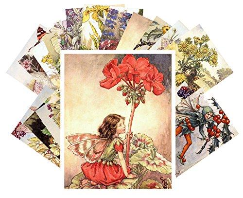 Tarjeta postale 24pcs Flower Fairy by Cecile Barker Vintage Illustrations