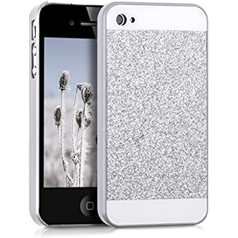 kwmobile Funda Hardcase Diseño brillo para Apple iPhone 4 / 4S en plateado blanco