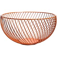 Somedays Iron Art Fruit Basket Storage Bowl Living Room Storage Dried Fruit  Holder (Orange)