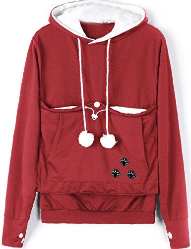 Rolansica Frauen Pullover Hoodie Sweatshirt mit Tasche Kangaroo Hoodie Carrier für kleine Katze Hunde Wein S