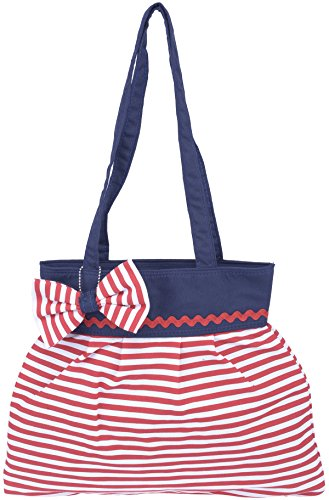 Küstenluder Damen Tasche Loria Streifen Sailor Shopper Rot / Weiß gestreift