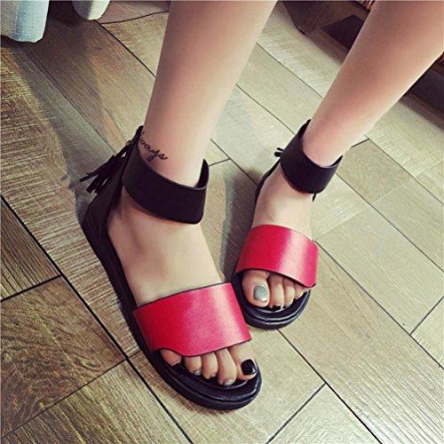 Saingace Frauen-Sommer-flache Art- und Weisesandelholze bequeme Damen-Schuhe Rot