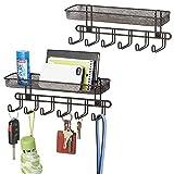 mDesign 2er-Set Schlüsselbrett mit 6 Haken und Briefablage - zum Aufhängen von Schlüsseln, Krawatten oder Handtaschen im Eingangsbereich - praktisches Schlüsselboard zur Wandmontage - bronzefarben