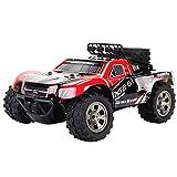 Prevently Ferngesteuertes Auto,Geländewagen 1:18 2WD High Speed Fernabstand 2,4 GHz Fernsteuerung RC Auto Legierung CaseTruck Off-Road Buggy Spielzeug Kinder (Red)
