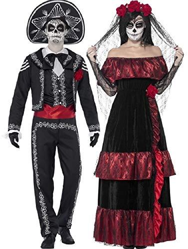 Paar Damen & Herren Tag der Toten Volle Länge Skelett Zuckerschädel Halloween Kostüm Verkleidung Outfit